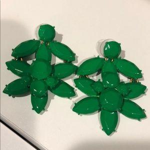 Jcrew bright green enamel earrings
